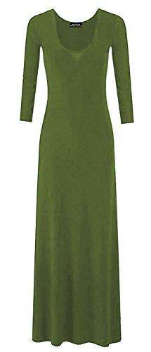 Ladies Jersey Maxi Dress Womens Plain Long Sleeves Flared Stretchy Dress#(Khaki Plain Jersey Maxi Dress#US 18-20#Womens) -