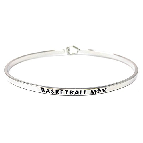 by you Inspirational Basketball MOM Messages Engraved Thin Bangle Hook Bracelets (Basketball MOM-Silver, Brass)