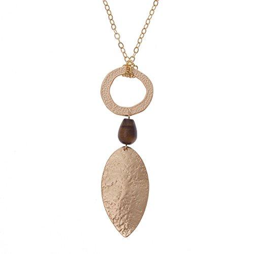 NOVICA Tiger's Eye 18k Gold Plated Pendant Necklace, 32.5