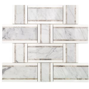 Soho Interlace White Carrara, Temple Gray and Thasso