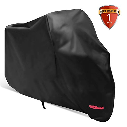 Motorcycle Cover,WDLHQC 210D Waterproof Motorcycle Cover All Weather Outdoor Protection,Oxford Durable & Tear Proof,Precision Fit for length 116 inch Motors