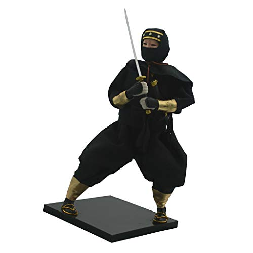 Prettyia 12inch Japanese Ninja Male Doll Warrior with Black Uniform Ornament Adult Collectible