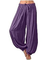 QiFei Stoffen broek voor dames, lange harembroek, slipbroek, strandbroek, zomerbroek, rechte pijpen, vrijetijdsbroek, stoffen broek in vloeiend zachte kwaliteit