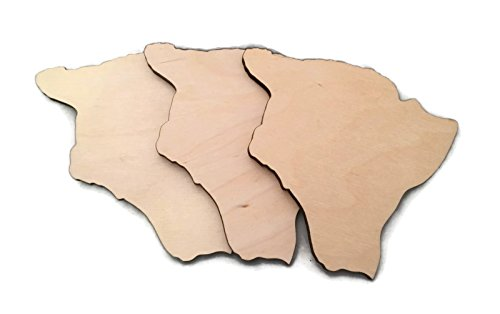 "Gocutouts 6"" Honolulu State Cutout Unfinished Package of 3 Wood/Wooden Baltic Birch 1/4"" Cutout DIY Home Decor USA Made (Hawaii)"