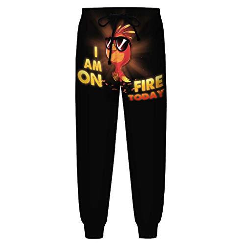 BUZHIDAO Pyjamabroek voor heren, lang, slim comfortabel, met kalkoenpatroon, broek met trekkoord, vrijetijdsbroek…