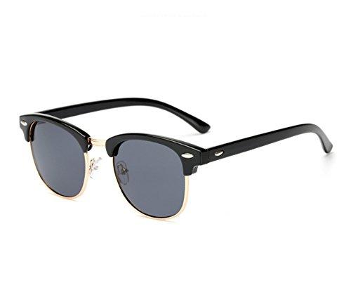 Gris UV400 soleil lunettes hommes Noir de classique femmes et Rétro demi Huateng lunettes polarisées 7qT6PTf