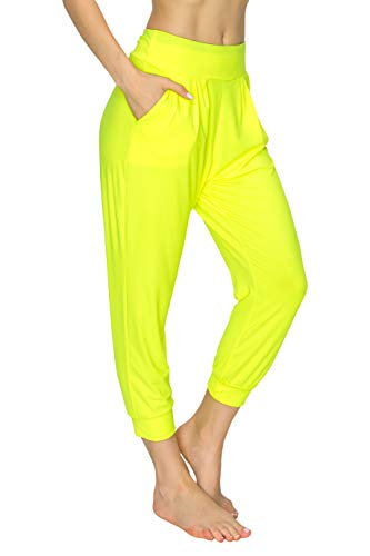 EttelLut Harem Jogger Yoga Exercise Loose Fit Casual Pants with Side Pockets N Yellow L