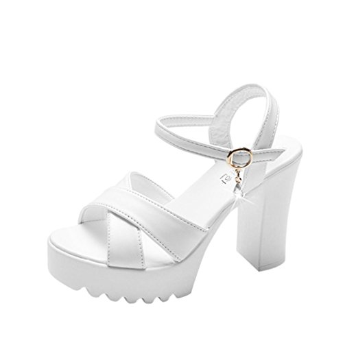 HLHN Women Sandals,Fish Mouth Platform Ankle Buckle Strap Block High Heel Peep Toe Shoes Casual Party Wedding White B