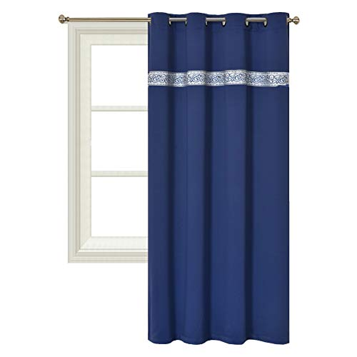 Panel Inserts - GOHD - Sweet Dream. Blackout Room Darkening Curtain Window Panel Drape with Tapestry/Jacquard Trimming Insert. 1 Panel with 8 Grommets (52 inch Wide x 84 inch Long, Royal Blue)