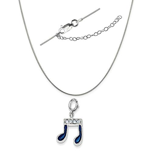 Sterling Silver Crystal and Blue Enamel Music Note Charm on a Snake Chain, 18
