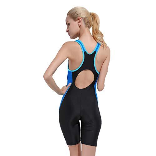 YEZIJIN Women Swimsuit Sexy One Piece Bodysuit Swimwear Professional Sport Bathing Suit Wetsuit top Long/Short Sleeve Blue by Yezijin_Swimsuit (Image #1)