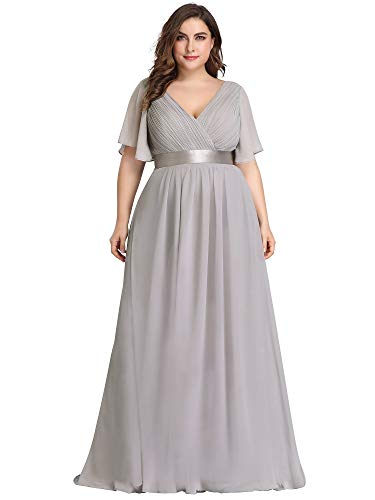 Ever-Pretty Plus Size Evening Cocktail Formal Bridesmaid Gown Maxi Dress Gray US26 (Best Mother Of The Bride Gowns)