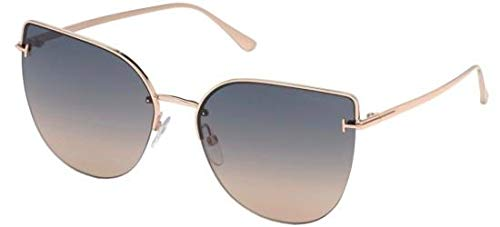 (Tom Ford INGRID-02 FT 0652 ROSE GOLD/GREY BEIGE SHADED 60/17/135 women Sunglasses)