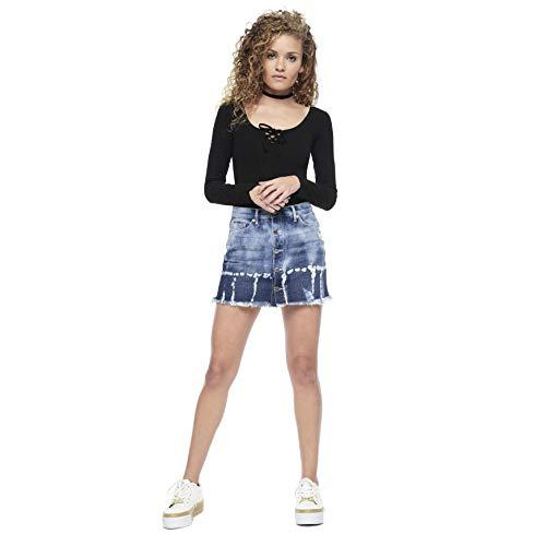 Juicy Couture Black Label Womens Bleached Tie Dye Denim Mini Skirt Size -