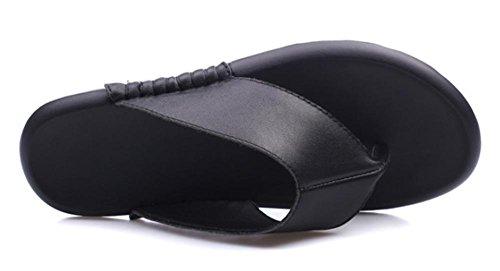 Sandalen und Pantoffeln weibliche dicke Kruste Fischgrät-Wohnung mit flachen Sandalen schlüpfen , black , US7.5 / EU38 / UK5.5 / CN38 Black