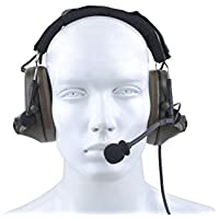 Noise Reduction Headset Comtac II Style Tactical Headphone Active Volume Hearing Protector Hunting Earmuff with New Military Standard Plug - FG