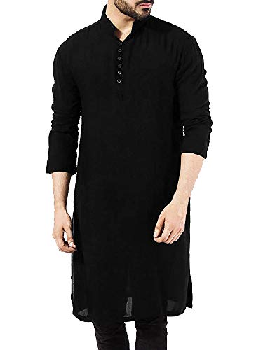 Taoliyuan Mens Arabic Muslim Longline T Shits Linen Henley Buttons Up Islamic Kaftan Bnaded Collar Shirts Black