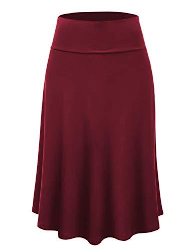 Lock and Love LL WB1105 Womens Lightweight Fold Over Flared Midi Skirt XL Wine