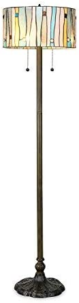 Serena D italia Tiffany Style Lamps, Blue Contemporary Floor Lamp, Mosaic Stained Glass Lamp and Bronze Finish Base, Double Pull Chain Blue, White, Yellow