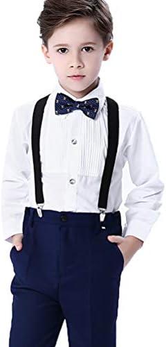 ARAUS Traje de Vestir Niños Conjuntos 4 Piezas Camisa Pantalones Pajarita Tirantes Traje Completo: Amazon.es: Ropa y accesorios