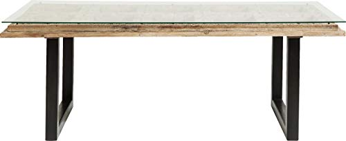 Kare Design – Mesa de comedor de 200 cm, madera tallada y cristal Kalif,