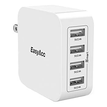 EasyAcc 40W 8A Wall Charger 4-Port USB Travel Charger with Foldable Plug, Smart Charge Technology for iPhone 6s, 6 Plus, iPad Pro / Air / Mini, Galaxy S7 S6 Edge and More