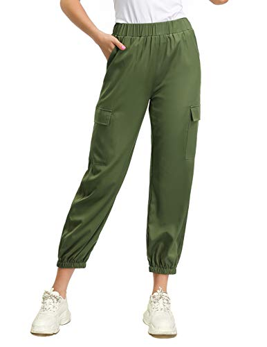 GRACE KARIN Women Cargo Pants Casual Outdoor Solid Baggy Jogger Workout Pants L Army Green (Best Women's Cargo Pants)