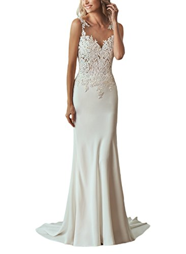 5d179402c5 MythLove Women s Long Sheath Satin Lace Flattering Illusion Neckline Low  Back Wedding Dress for Bride White 4