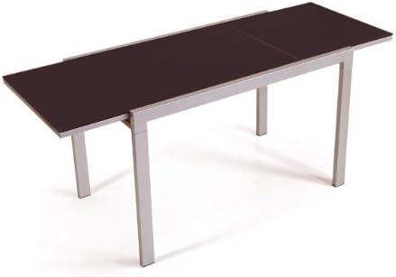 Tavolo 70 X 120 Allungabile.Tavolo Allungabile Con Vetro Temperato Moka Cm 70 X 120 Amazon It