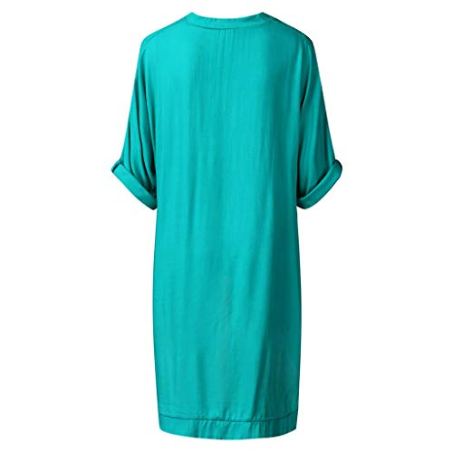 (ONLY TOP Women's Casual Chic Blouse High Low Tops Round Neck Dovetail Hem T-Shirt Dress Green)