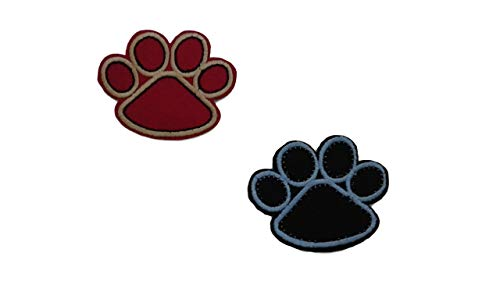 2 Pieces Animal Footprint Iron On Patch Scrapbooking Applique Motif Fabric Pet Cat Dog Paw Decal 1.9 x 1.5 inches (4.8 x 3.8)