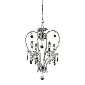 Nulco Chrome Chandelier - Elk Lighting 82001/4 Drapersfield 4-Light Crystal Chandelier, 15