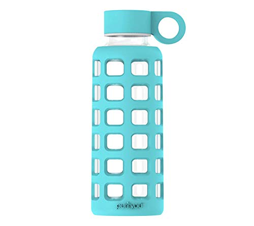 (purifyou Premium Glass Water Bottle with Silicone Sleeve and Stainless Steel Lid, 32/22 / 12 oz (Aqua Blue, 22 oz))
