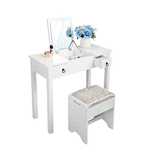 JAXSUNNY Vanity Table Set Make-up Dressing Table with Flip Top Mirror Cushioned Bench Bedroom Furniture of Ample Storage for Women/Girls,White
