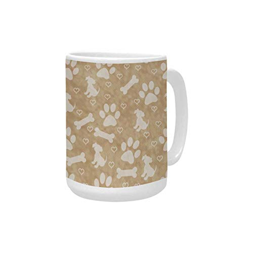 InterestPrintt Brown Dog Paw Prints Puppy Bone and Hearts Tile Large Size Coffee Mug Cup 15 Oz, Novelty Mugs for Mom, Grandma, Him or Her, Dad