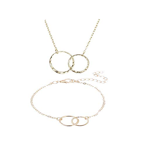 Double Link Set Necklace - Mother Daughter Link Bracelet Necklace Set-Gold Double Circle Charm Two Interlocking Infinity Necklace for Women (Gold)