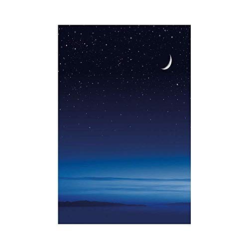 Polyester Garden Flag Outdoor Flag House Flag Banner,Night,Moon and Stars over Santa Barbara Channel Infinity Foggy Pacific Ocean Decorative,Dark Blue Sky Blue White,for Wedding Anniversary Home Outdo