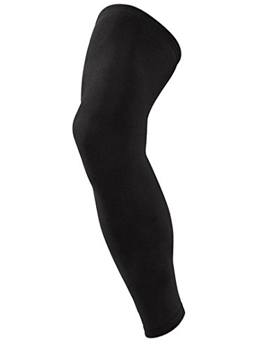 Kagogo Compression Knee Sleeve Leg Support (Full Length) - 3-Layer Wicking, Non Slip Inner Bands - Basketball, Running, Weight Lifting, Crossfit, Arthritis (1 Pair) (Black, L)