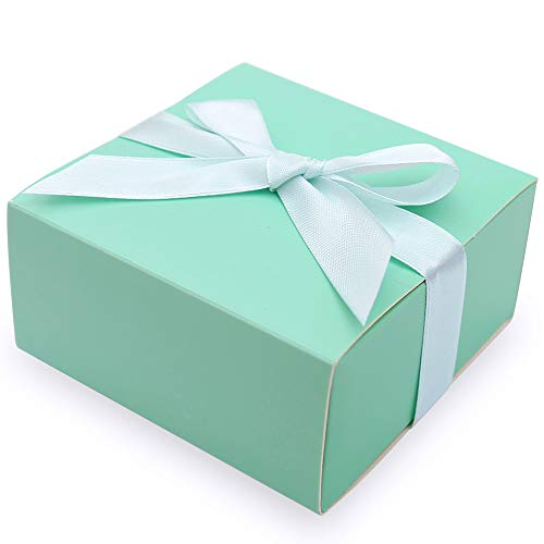 Doris Home 50 pcs Birthday Wedding Party Favor, Wedding Gift Bags Chocolate Candy and Gift Boxes Bridal Shower Party Paper Gift Box (Tiffny Blue),CB078-TA