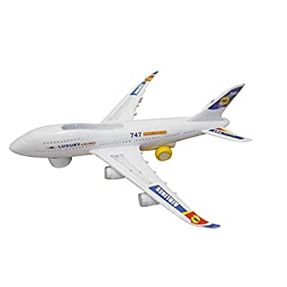 Toyhoo Electric Boeing 747 Kids Action Toy Airplane, Plane with Attractive Lights and Sounds - Changes Direction On Contact - Bump and Go