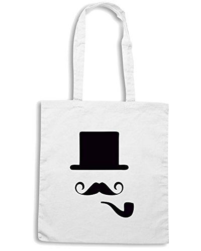 T-Shirtshock - Bolsa para la compra TR0028 Bowler Hat Moustache Vintage Indie Geek Pipe Blanco