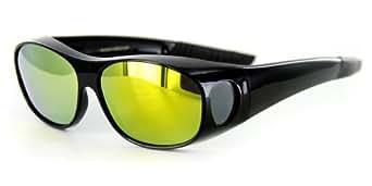 "Aloha Eyewear ""Hideaways Small"" Over-Prescription 60mm Polarized Mirror Sunglass(Black w/BlackYellow)"