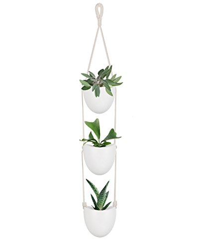 Art Planter - Mkono Ceramic Hanging Planter with 3 Flower Pots Succulent Air Plant Holder Wall Decor