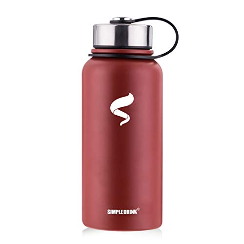 Stainless Steel Insulated Water Bottle - Wide Mouth Leak Proof Vacuum Outdoors Coffee Mug - Ice Cold Up to 24 Hrs/Hot 13 Hrs Double Walled Flask - Laser Marking