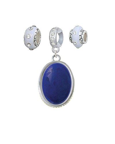 Silvertone Oval - Dolomite Marble - Blue - White Charm Beads (Set of 3) - Dolomite White Marble