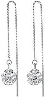 Yoursfs Jewelry Threader Earrings 18K White GP Long Chain Threader Drop Earrings Sparkly CZ 3D Ball Dainty Bridal Pendant Earrings