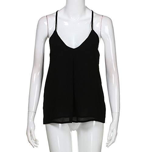 Women Ladies Deep Top V T Shirt Off Shoulder Cami Casual Top Blouse Vest Men Tank Black by iLUGU (Image #2)