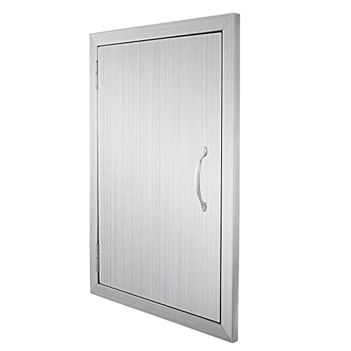 Happybuy BBQ Access Door Double Wall Construction 17W x 24H inch BBQ Island Outdoor Kitchen Access Doors 304 Grade Brushed Stainless Steel Heavy Duty ()
