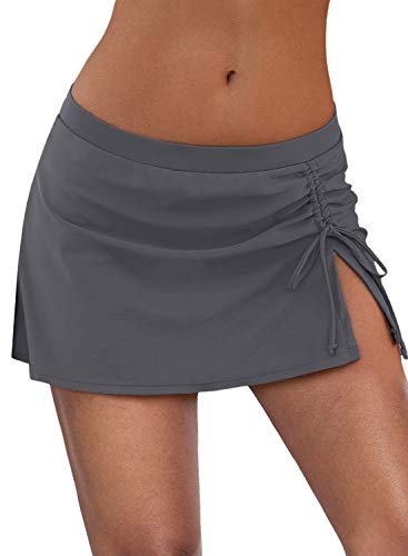 Byoauo Women's Swim Skirt Ruched Swimsuits Solid Color Bikini Bottoms Grey