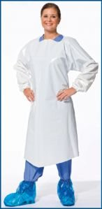 VR Protective Wear Vinyl Replacement Gown openback w/elastic-cuffs 6 mil white large 42x50 inches , (Pack of 50) PolyConversions, Inc. 42553